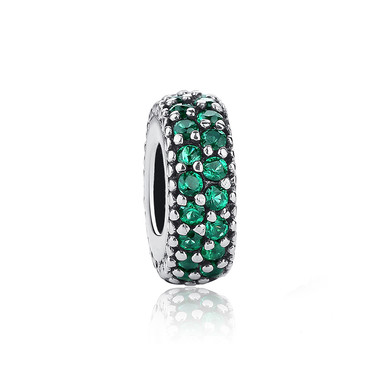 Round Spacer Paved Green Crystal