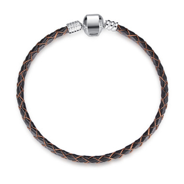 SILVER BLACK LEATHER CHARM BRACELET