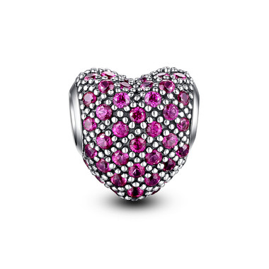 BRIGHT MAGENTA PAVED CRYSTAL HEART CHARM