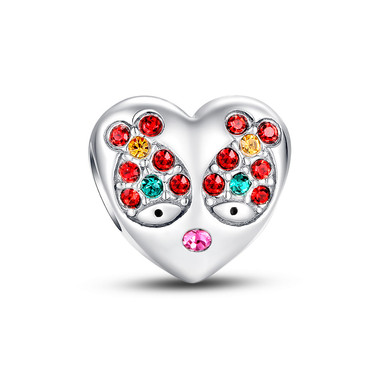 FISH IN LOVE HEART CHARM - SWAROVSKI