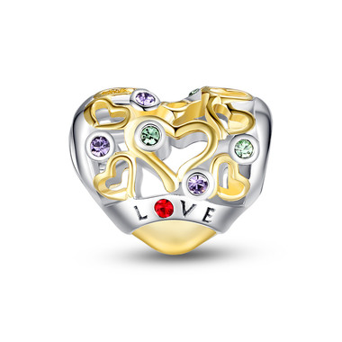LOVE-SILVER AND GOLD OPENWORK HEART CHARM