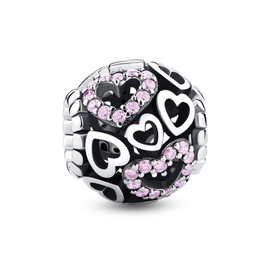 HEART TO HEART PINK CRYSTAL CHARM
