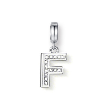 "CRYSTAL ""F"" DANGLE CHARM"